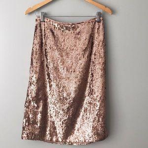 NWT J CREW Rose Gold Sequin Midi Pencil Skirt